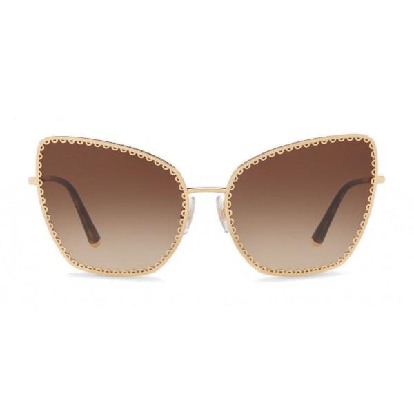"Dolce & Gabbana - Occhiale da Sole Cat-Eye con Profilo in Metallo ""Cuore Sacro"" - Oro e Havana - Dolce & Gabbana Eyewear"