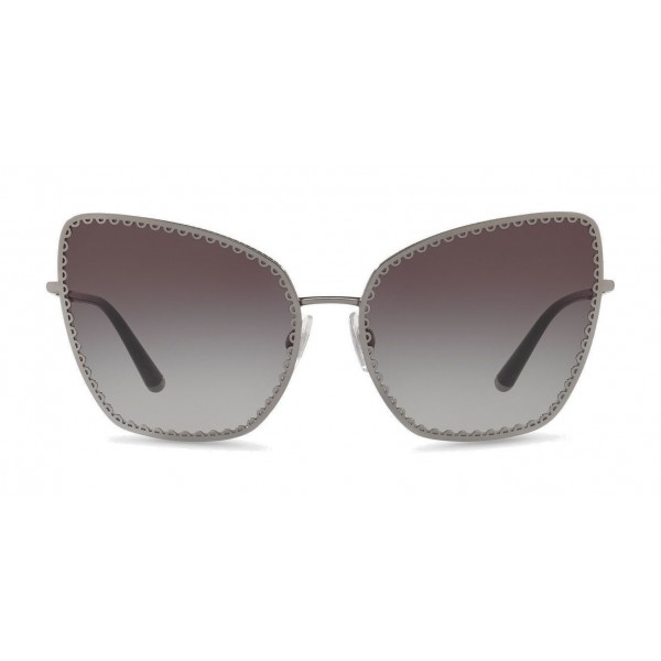 "Dolce & Gabbana - Cat-Eye Sunglasses with ""Sacred Heart"" Metal Profile - Back Gunmetal - Dolce & Gabbana Eyewear"