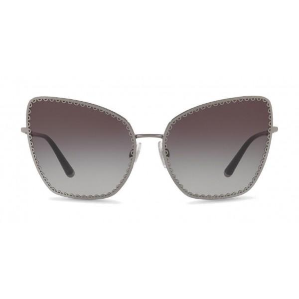"""Dolce & Gabbana - Occhiale da Sole Cat-Eye con Profilo in Metallo """"Cuore Sacro"""" - Fucile e Nero - Dolce & Gabbana Eyewear"""