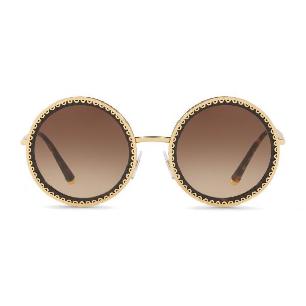 """Dolce & Gabbana - Occhiale da Sole Rotondo con Profilo in Metallo """"Cuore Sacro"""" - Oro e Havana - Dolce & Gabbana Eyewear"""