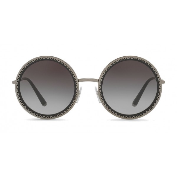 "Dolce & Gabbana - Round Sunglasses with ""Sacred Heart"" Metal Profile - Gunmetal Black - Dolce & Gabbana Eyewear"