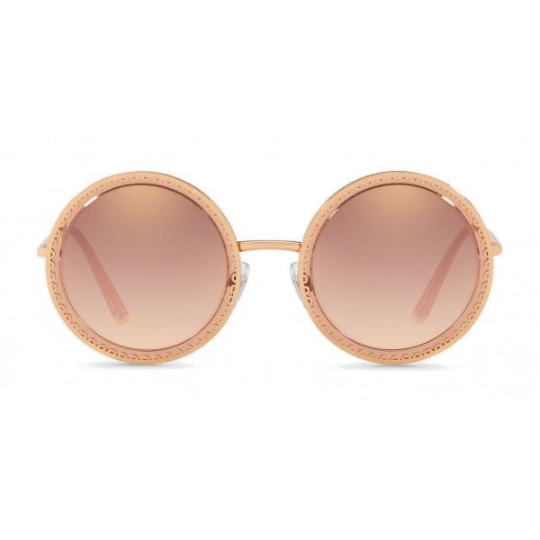 """Dolce & Gabbana - Occhiale da Sole Rotondo con Profilo in Metallo """"Cuore Sacro"""" - Oro Rosa - Dolce & Gabbana Eyewear"""