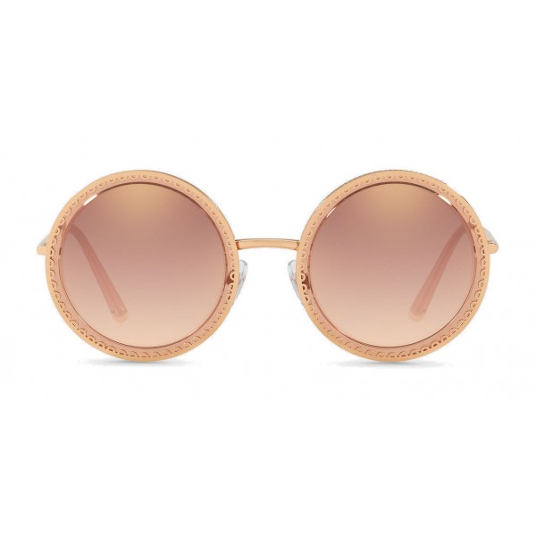 "Dolce & Gabbana - Round Sunglasses with ""Sacred Heart"" Metal Profile - Rose Gold - Dolce & Gabbana Eyewear"