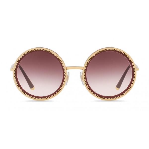 """Dolce & Gabbana - Occhiale da Sole Rotondo con Profilo in Metallo """"Cuore Sacro"""" - Oro Bordeaux - Dolce & Gabbana Eyewear"""