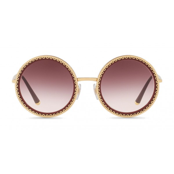 "Dolce & Gabbana - Round Sunglasses with ""Sacred Heart"" Metal Profile - Gold Bordeaux - Dolce & Gabbana Eyewear"