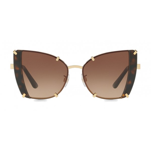 Dolce & Gabbana - Butterfly Sunglasses with Faceted Details - Gold & Havana - Dolce & Gabbana Eyewear