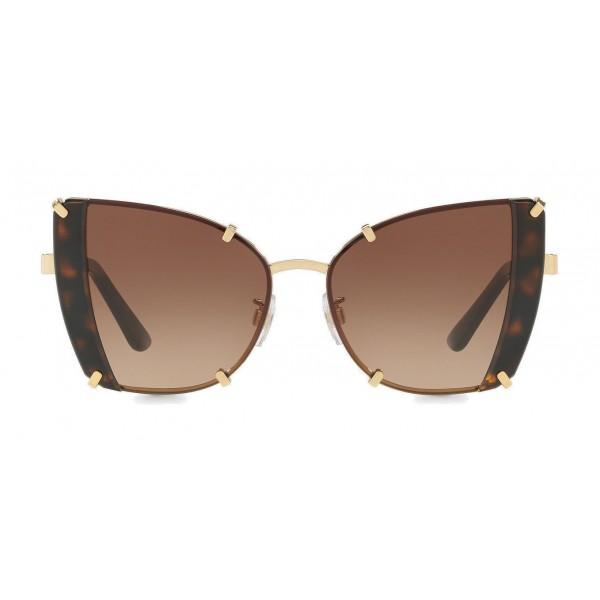 Dolce & Gabbana - Occhiale da Sole Butterfly con Dettagli Sfaccettati - Oro e Havana - Dolce & Gabbana Eyewear