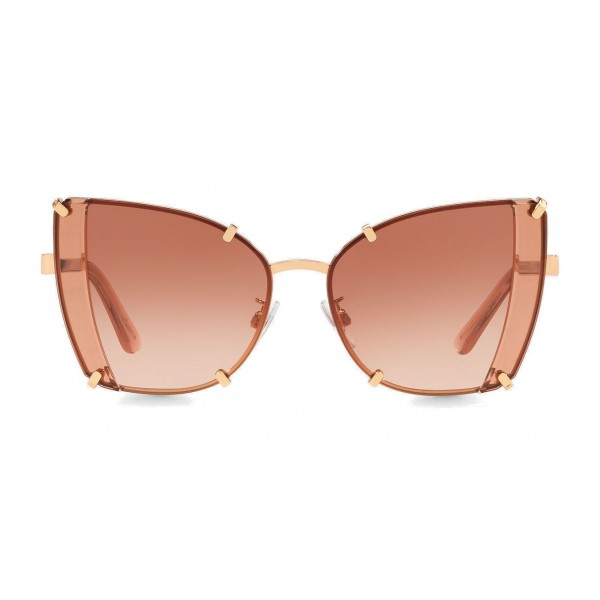 Dolce & Gabbana - Butterfly Sunglasses with Faceted Details - Rose Gold - Dolce & Gabbana Eyewear