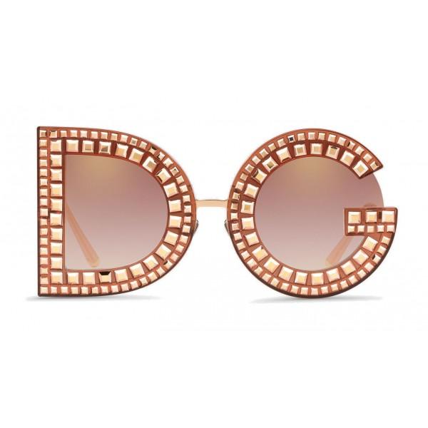 Dolce & Gabbana - Occhiale da Sole DG con Cristalli - Rosa Trasparente - Dolce & Gabbana Eyewear