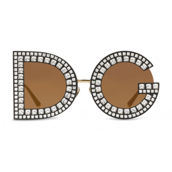 Dolce & Gabbana - DG Sunglasses with Crystals - Black with Crystals - Dolce & Gabbana Eyewear