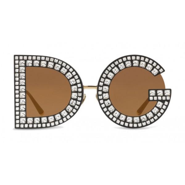 Dolce & Gabbana - Occhiale da Sole DG con Cristalli - Nero con Cristalli - Dolce & Gabbana Eyewear