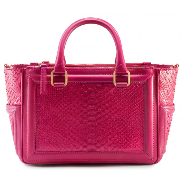 Aleksandra Badura - Ladylike Bag - Calfskin & Python Top-Handle Tote Bag - Fuchsia - Luxury High Quality Leather Bag