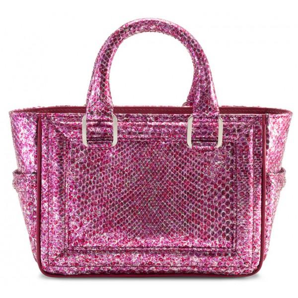Aleksandra Badura - Ladylike Mini Bag - Borsa in Pitone - Rosa Crackle - Borsa in Pelle di Alta Qualità Luxury