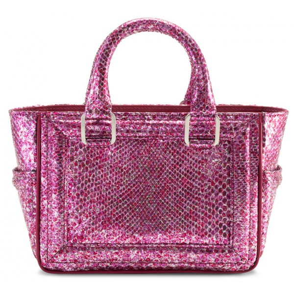 Aleksandra Badura - Ladylike Mini Bag - Python Top-Handle Tote Bag - Crackle Pink - Luxury High Quality Leather Bag