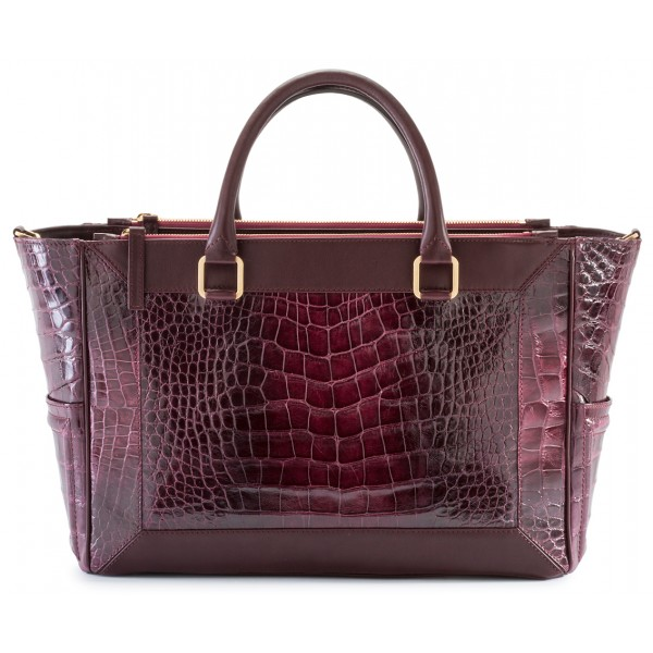 Aleksandra Badura - Ladylike Medium Bag - Borsa in Alligatore e Vitello - Burgundy - Borsa in Pelle di Alta Qualità Luxury