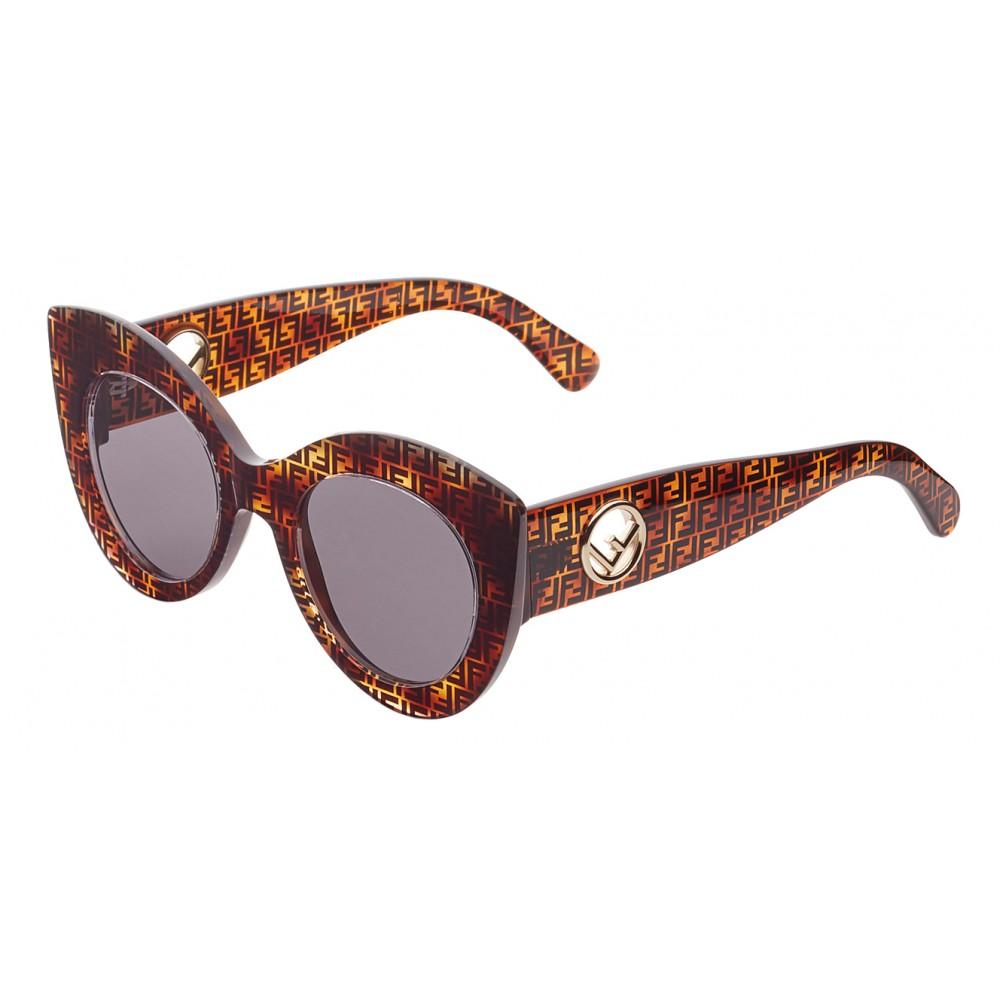 23c05226cb ... Fendi - F is Fendi - Havana Gray FF Cat Eye Sunglasses - Sunglasses -  Fendi ...
