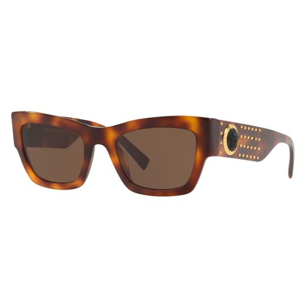 Versace - Occhiale da Sole Medusa Ares Stud - Havana - Occhiali da Sole - Versace Eyewear