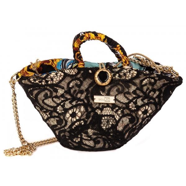 SicuLAB - Coffa Priziusa - Sicilian Artisan Handbag - Coffa Siciliana - Luxury High Quality Handicraft Bag