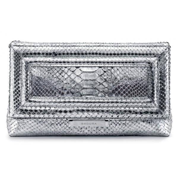 Aleksandra Badura - Luisa Clutch - Envelope Clutch in Pitone - Argento - Borsa in Pelle di Alta Qualità Luxury