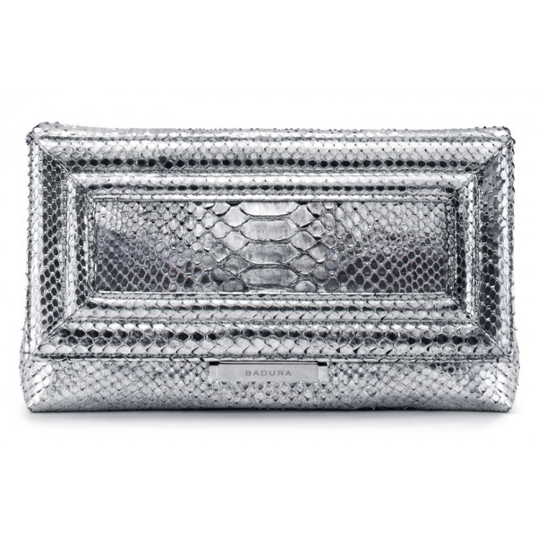 Aleksandra Badura - Luisa Clutch - Python Envelope Clutch - Silver - Luxury High Quality Leather Bag