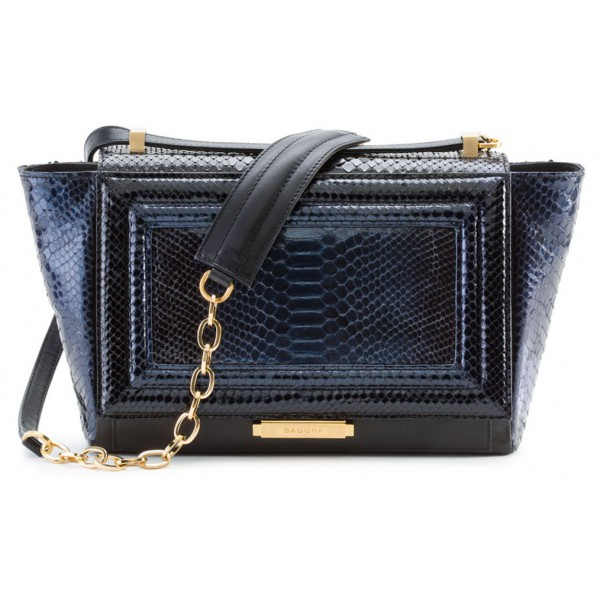 Aleksandra Badura - Luisa Bag - Calfskin & Python Shoulder Bag - Black & Midnight Blue - Luxury High Quality Leather Bag
