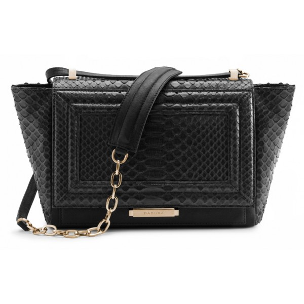 Aleksandra Badura - Luisa Bag - Calfskin & Python Shoulder Bag - Onyx - Luxury High Quality Leather Bag