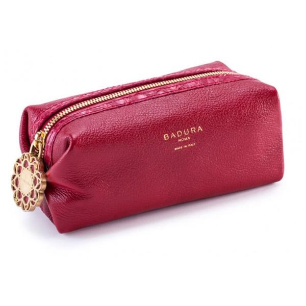 Aleksandra Badura - Small Leather Goods - Multipurpose Pouch in Pitone e Capra - Rosso - Pelle di Alta Qualità Luxury