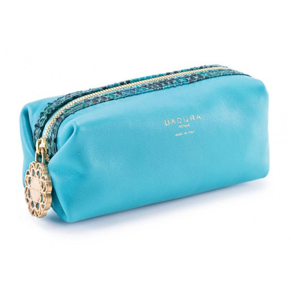 Aleksandra Badura - Small Leather Goods - Multipurpose Pouch in Python & Goatskin - Turquoise - Luxury High Quality