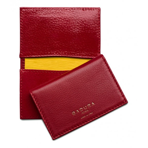 c118e41ed1cb3e Aleksandra Badura - Small Leather Goods - Business Card Holder in Calfskin  - Red - Luxury High Quality - Avvenice