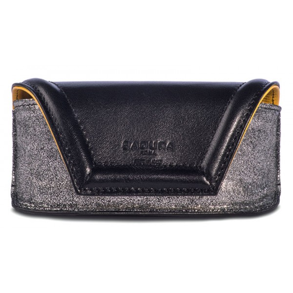 Aleksandra Badura - Small Leather Goods - Sunglasses Case in Calfskin - Black & Silver - Luxury High Quality
