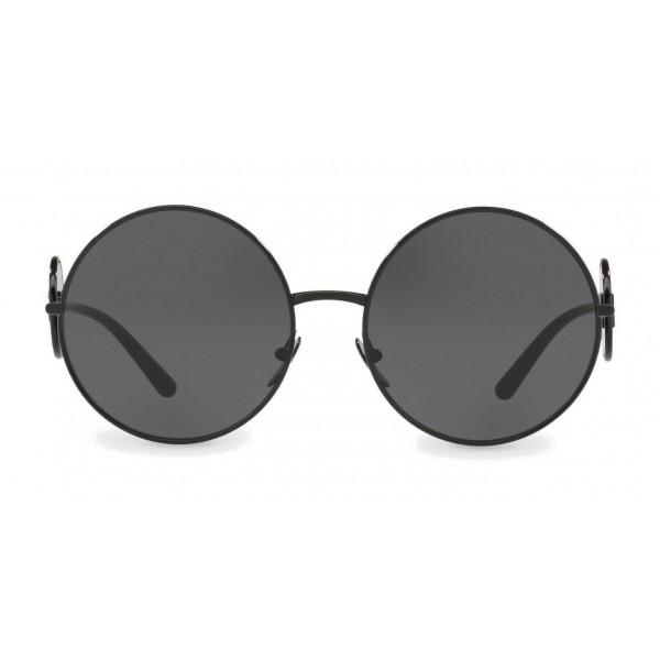 Dolce & Gabbana - Occhiali da Sole Rotondi in Metallo con Dettaglio DG - Nero Brillante - Dolce & Gabbana Eyewear