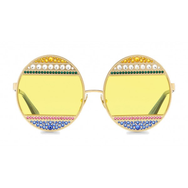 Dolce & Gabbana - Occhiali da Sole Ovali in Metallo con Cristalli - Oro Lucido e Multicolore - Dolce & Gabbana Eyewear