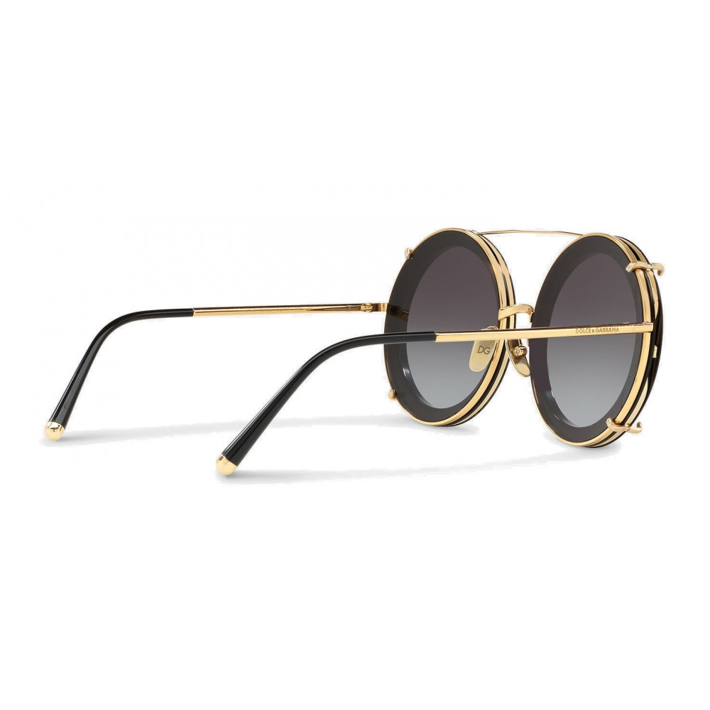 088c06c0dbe ... Dolce   Gabbana - Round Sunglasses in Gold Metal with Clip On Print  Graffiti - Dolce
