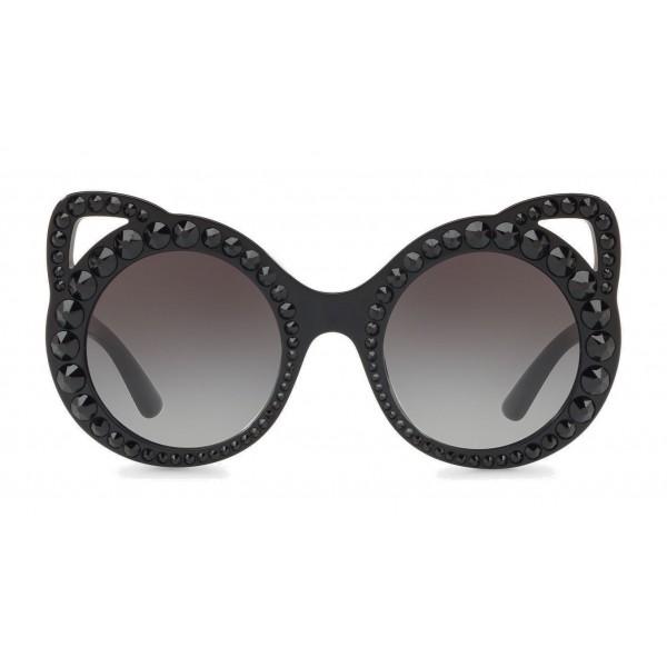 Dolce & Gabbana - Occhiale da Sole Rotondo in Acetato con Cristalli - Nero - Dolce & Gabbana Eyewear