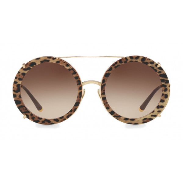 Metal Gabbana Dolce Round Gold Clip Leo Sunglasses amp; On With 4FTFOIf