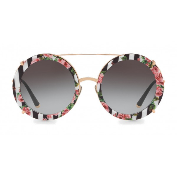 dc84159f8f8d9 Dolce   Gabbana - Round Gold Metal Sunglasses with Clip On Rows and Roses -  Dolce   Gabbana Eyewear - Avvenice