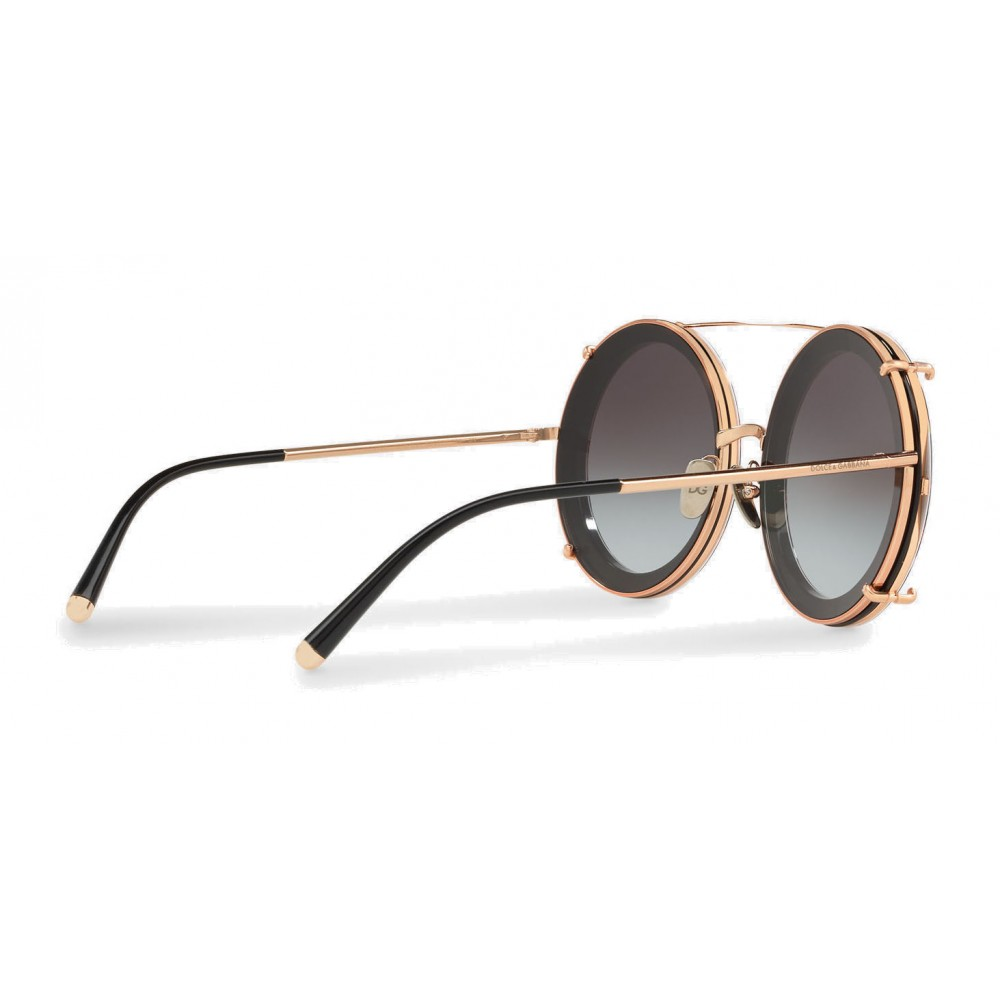 075dc41249bb ... Dolce   Gabbana - Round Gold Metal Sunglasses with Clip On Rows and  Roses - Dolce