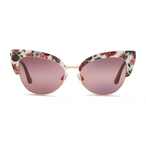 c9442feb5670 Dolce & Gabbana - Cat-Eye Sunglasses in Floral Print Acetate - Burgundy -  Dolce & Gabbana Eyewear - Avvenice