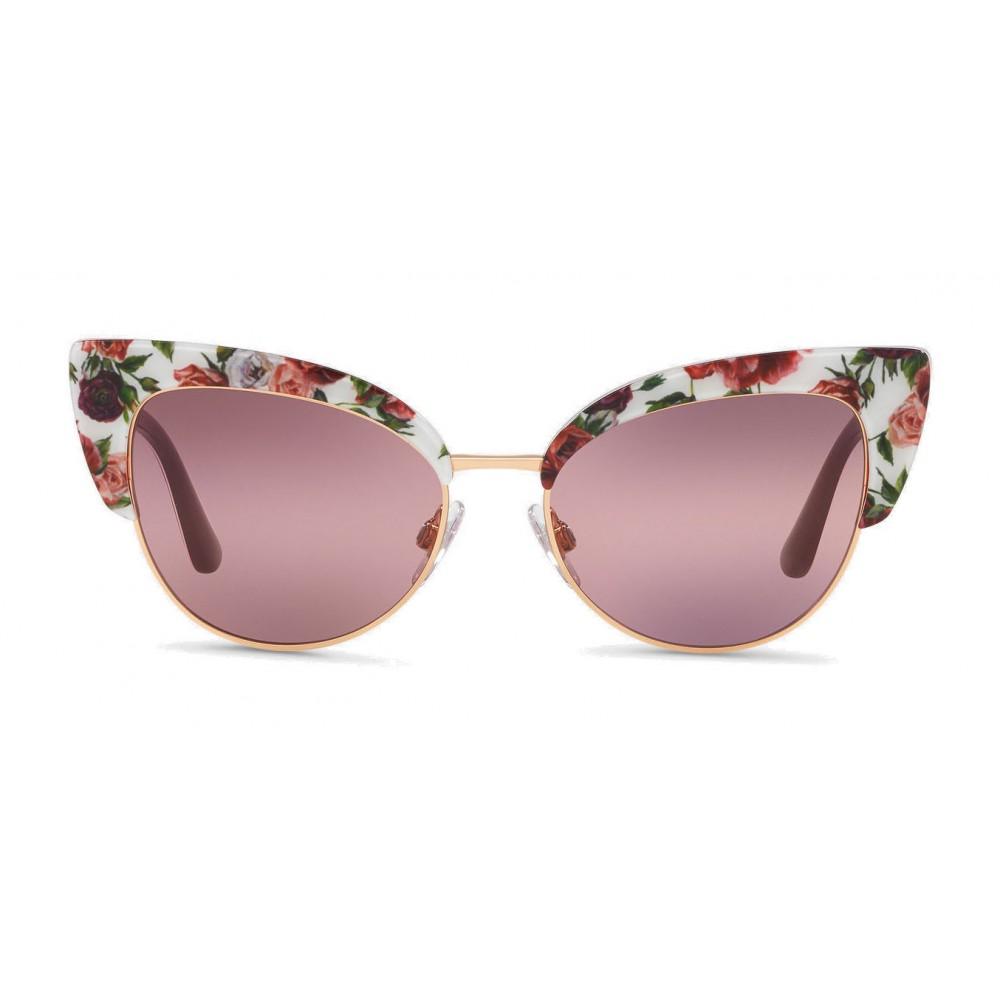 9f242698b2c8 Dolce & Gabbana - Cat-Eye Sunglasses in Floral Print Acetate - Burgundy -  Dolce & Gabbana Eyewear - Avvenice