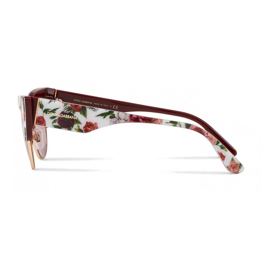77d7bbbc0b1f ... Dolce & Gabbana - Cat-Eye Sunglasses in Floral Print Acetate - Burgundy  - Dolce ...