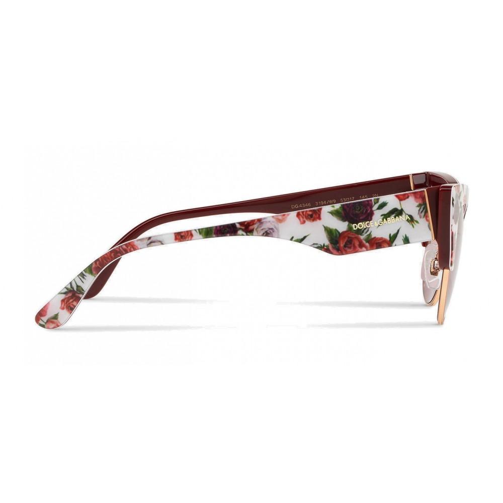 7f3069fc5725 ... Dolce & Gabbana - Cat-Eye Sunglasses in Floral Print Acetate - Burgundy  - Dolce