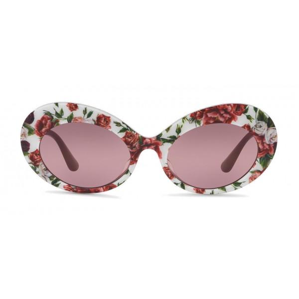 3c55e5778e06 Dolce & Gabbana - Oval Sunglasses in Floral Print Acetate - Burgundy - Dolce  & Gabbana
