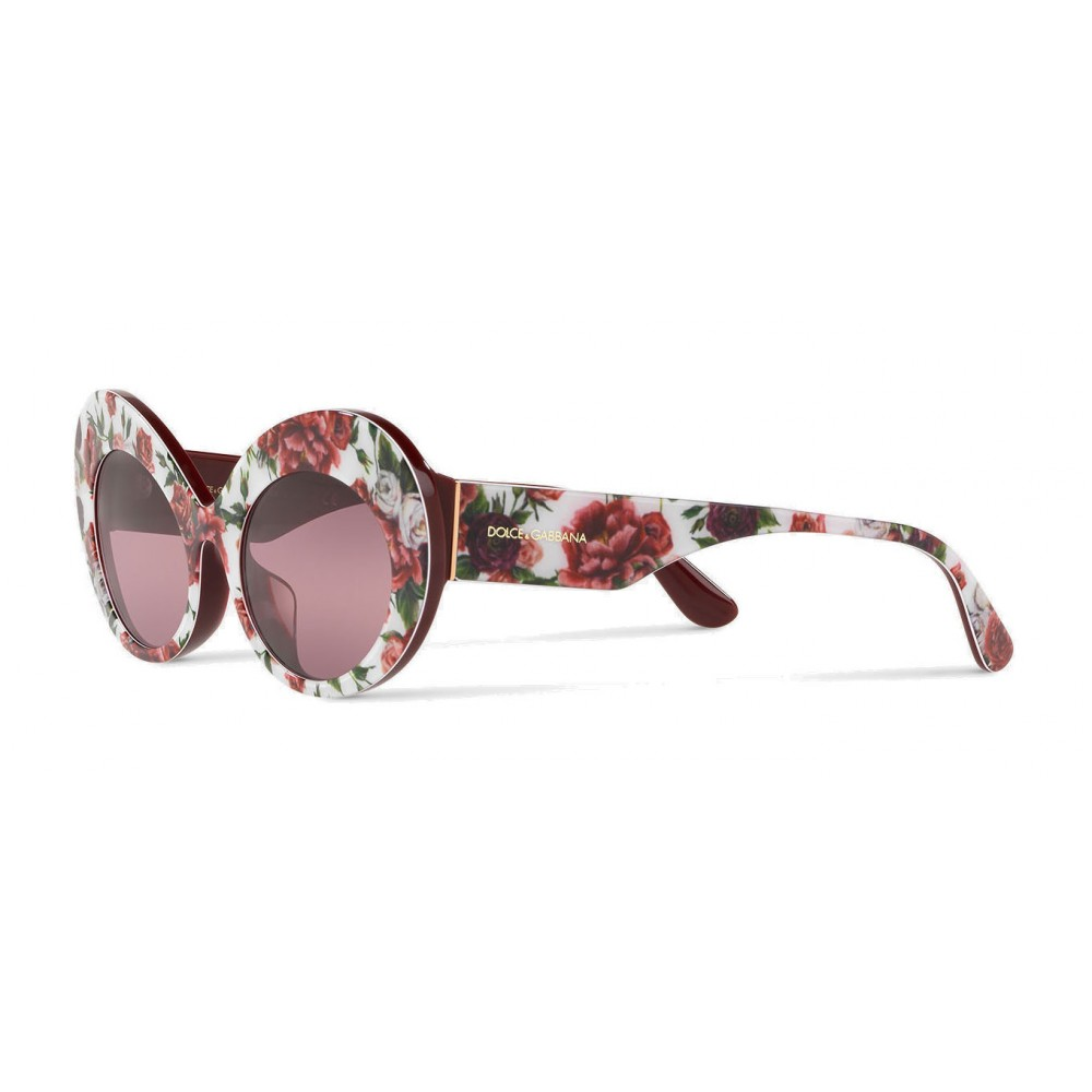 1920fd6f9986 ... Dolce & Gabbana - Oval Sunglasses in Floral Print Acetate - Burgundy -  Dolce & Gabbana