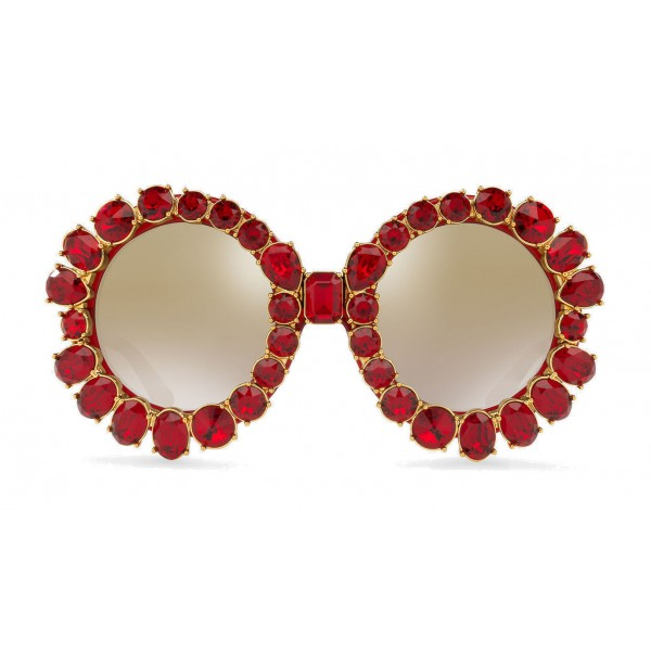 69d7eee4de4 Dolce   Gabbana - Round Sunglasses with Colored Crystals - Transparent Red  - Dolce   Gabbana Eyewear - Avvenice