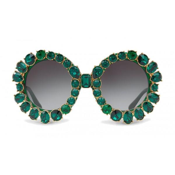 973cf6200c1 Dolce   Gabbana - Round Sunglasses with Colored Crystals - Green - Dolce    Gabbana Eyewear - Avvenice