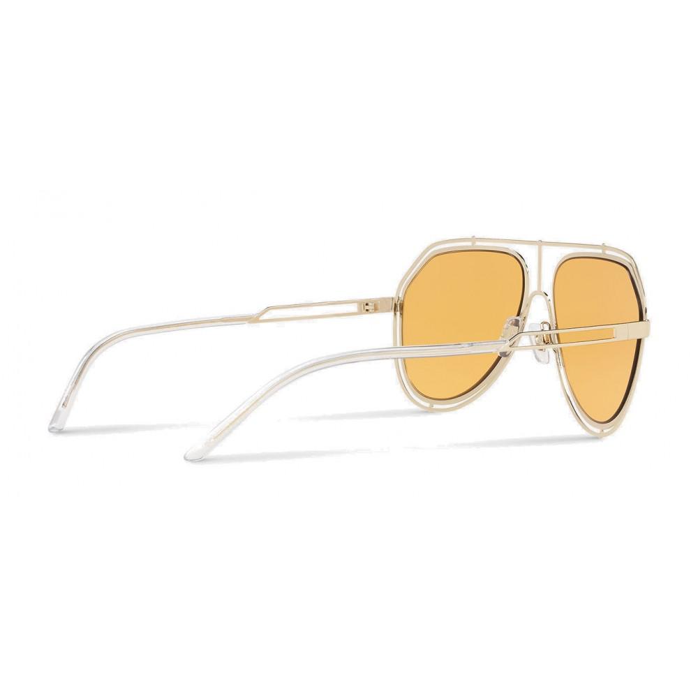 10d534358984 ... Dolce   Gabbana - Pilot Sunglasses with Metallic Profile - Light Shiny  Gold - Dolce ...