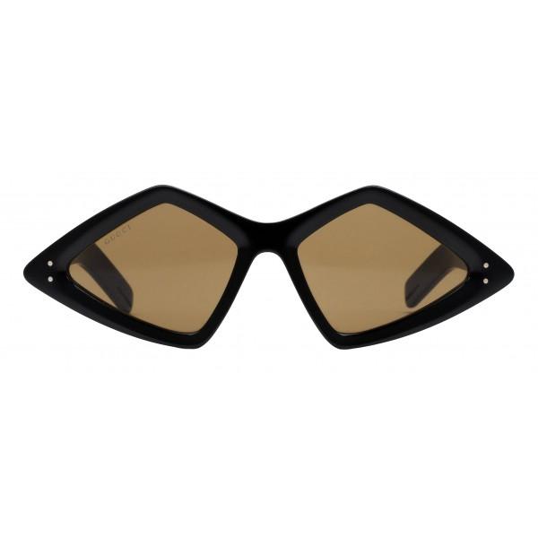 Gucci - Occhiale da Sole con Montatura a Diamante - Nero Lucido - Gucci Eyewear
