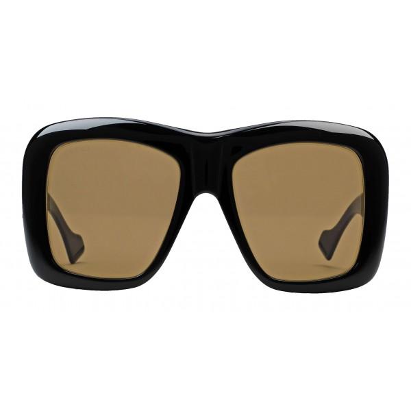 Gucci - Occhiale da Sole Quadrati Oversize - Nero Lucido - Gucci Eyewear
