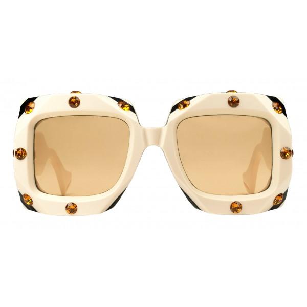 Gucci - Occhiale da Sole Quadrati Oversize con Cristalli Swarovski - Bianchi - Gucci Eyewear