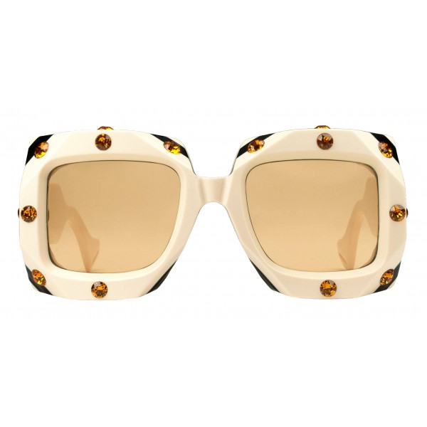 Gucci - Square Oversize Sunglasses with Swarovski Crystals - White - Gucci Eyewear